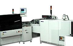 Automatic printing line for high quality printing, fine-line & fine-pitch on ceramic substrates.