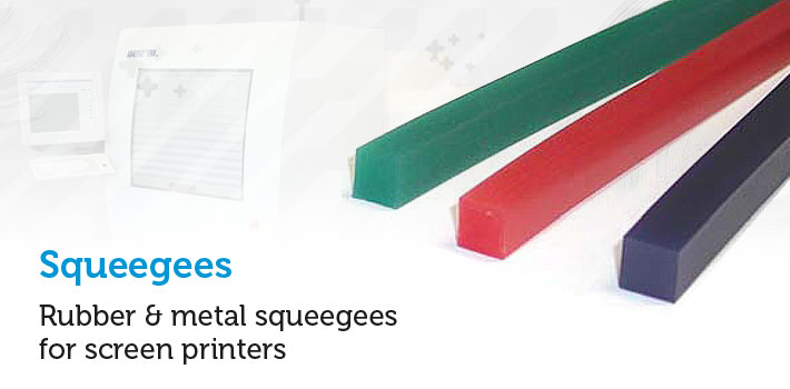 Rubber & metal squeegees for screen printers