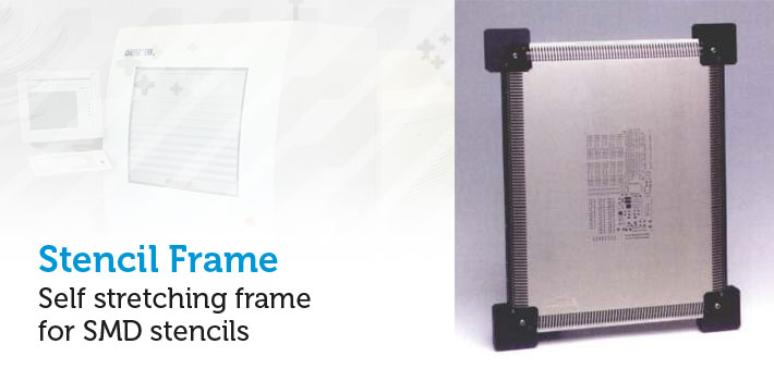 Self stretching frame for SMD stencils